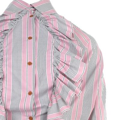 frill detail stripe shirt pink